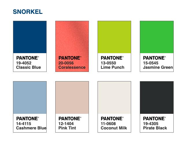 Lembrando um paraíso tropical repleto de felicidade, a encantadora paleta de cores Snorkel nos leva para um destino idílico. Junto com um preto e um branco clássicos, cria um contraste dramático com a profundidade e a força do PANTONE 19-4052 Classic Blue, trazendo o porto seguro onde ancorar.